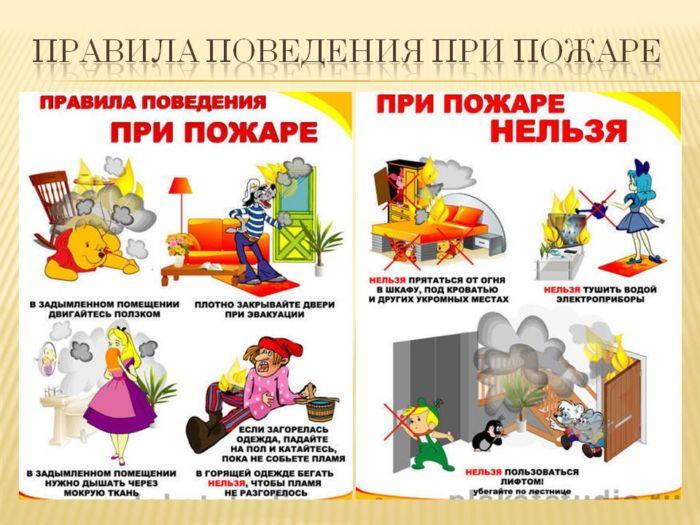 Объяснить ребенку правила поведения при пожаре