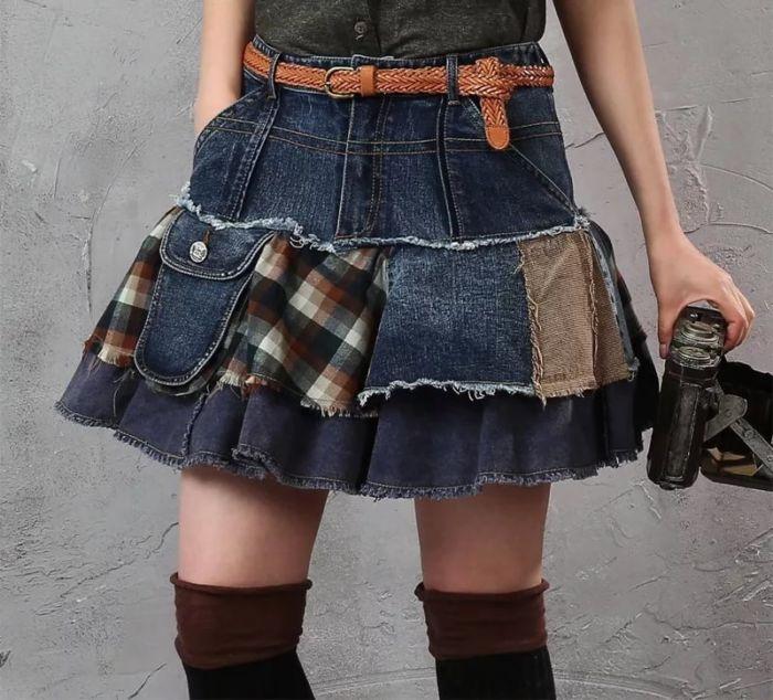 Как сделать юбку из джинсов своими руками
