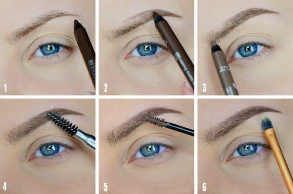 Как правильно красить брови карандашом пошагово фото